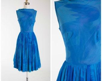 Vintage 1960s Dress • June Twilight • 50s Blue Chiffon Party Dress Size Small