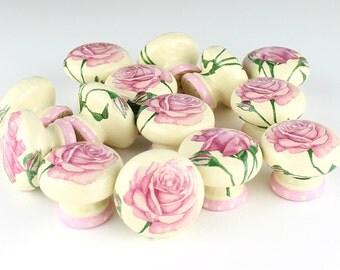 Door knob, pink roses design, wooden drawer knob, cabinet knob, drawer pull, floral door knob 45mm, shabby chic, bedside cabinet knob