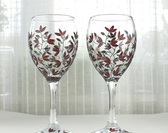 Wine Glasses, Red Tulips Design, Wedding Glasses, Hand Painted Wine Glasses, Personalized Wine Glasses, Tulip Wine Glasses, Set of 2
