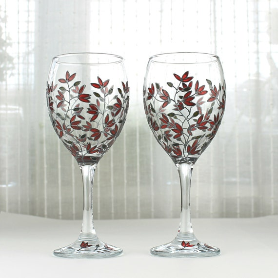 Wine glasses red tulips design wedding glasses hand painted for Hand designed wine glasses
