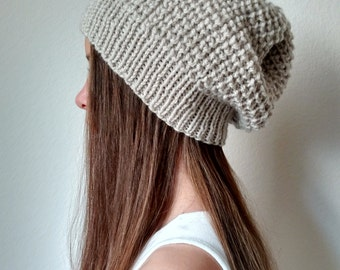 Slouchy Textured  Knit Hat - THE HEAVENLY - (more colors available - made to order)