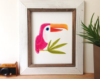 Pink Toucan - Art Print 5x7, 8x10, 11x14