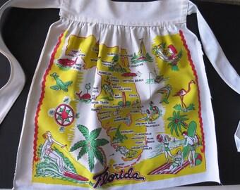 Florida State Half Apron - 1940s Florida Souvenir - Major Cities Tourist Attractions Graphics - Collectible Kitchen Decor - Gift Idea