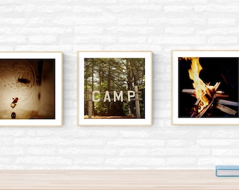 camping art prints // outdoor gift // summer camp nostalgic camp fire - set of three art gift photography prints outdoor