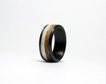 Whiskey Barrel Wood/Deer Antler Ring - Carbon Fiber Band