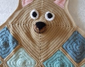Bear Blanket Afghan Throw - Baby, Toddler and Child - Blue and Green Crochet