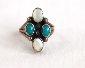 Turquoise Ring Mother of Pearl Size 6 .75 Vintage Native American Unisex Statement Ring Signed
