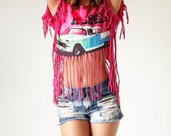 Vintage Cropped T Shirt with Fringe 55 Rebel Car size ALL