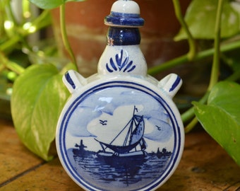 Delft Bottle with Ship and Windmills