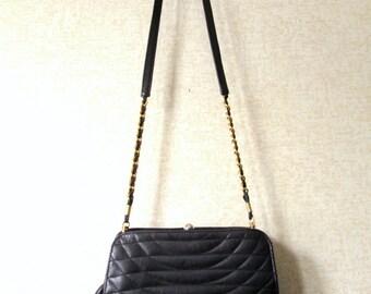 Quilted Leather Bag gold chain leather tassel quilted clutch bag shoulder bag long strap purse crossbody bag hipster handbag vintage 80s 90s