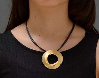 Short gold pendant, Circle gold pendant, gold pendant, gold and black necklace, short statement necklace, classic pendant large gold pendant