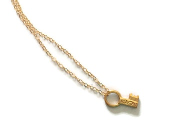 Key Necklace - Gold Jewelry - Charm - Everyday