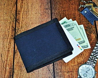 1dd0fd6803 Dark Navy Waxed Canvas Bifold Wallet - Midnight Blue Canvas Billfold - Blue  Canvas Mens Wallet - Gift for Him