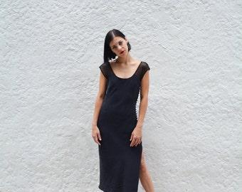 Brushed Silk High Slit Lace Slip Dress