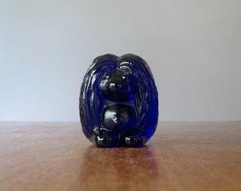 Mid Century Bergdala Swedish Cobalt Glass Troll / Tomte