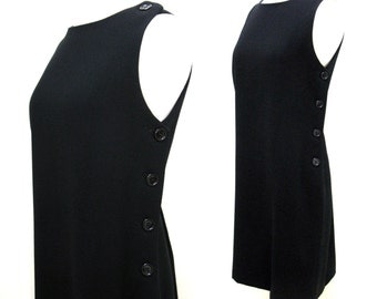Vintage 1970s 1980s Anne Klein Black Wool Sleeveless Dress with Side Buttons