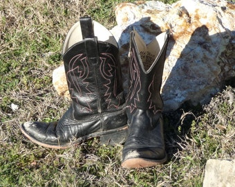 Black Western Boots by Old West, Rough & Ready Black Cowboy Boots Old West