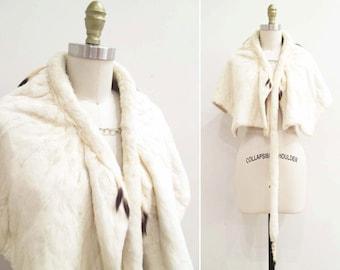 Vintage 1920s Ermine Cape | White Ermine Fur Cape