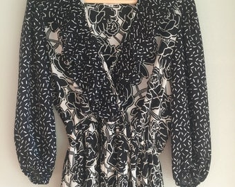 Black and white sheer dress size small