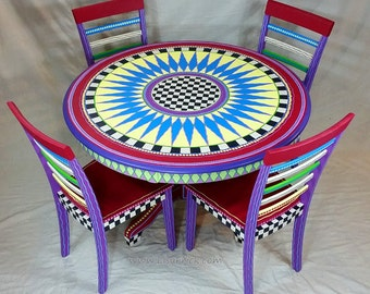 Custom Made to Order Hand Painted Dining Table and Four Chairs