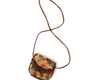 Vintage 1980's Brown Leather Rose Floral Cotton Tapastry Mini Crossbody Shoulder Purse Handbag