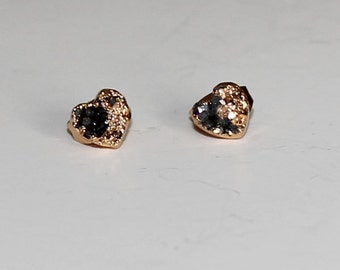 Natural Agate Druzy Geode Golden Gold Plated Heart Stud Earrings Stone Blue