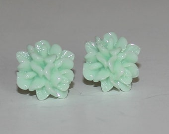 Delicate mint Rose Flower Cabochon Stud Earrings Handmade