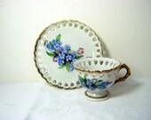 Vintage FLORAL DEMITASSE CUP Tiny Tea Forget-Me-Not Flower Open Heart Rim