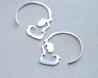 Silver Skull Hoop Earrings, Simple Skull Hoops, Skull Jewelry - 3225