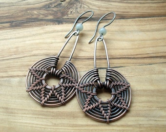 Tribal Earrings - Wire Wrapped Earrings - Copper Earrings - Wire Woven earrings - Wire wrap jewelry - Geometric earrings - Long earrings