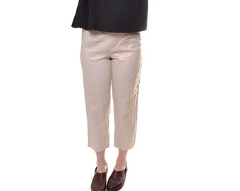 HOLIDAY SALE Cropped gold linen pants / vintage Neiman Marcus high waisted highwater pants / cropped pants / size 10
