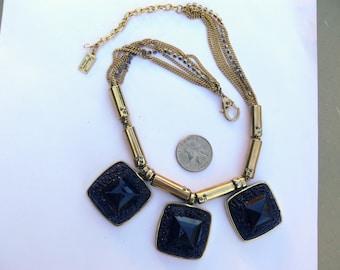 black stone bib rhinstone chain necklace by kennth cole