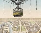 Vintage poster of Paris World's Fair hot air balloon, digital download