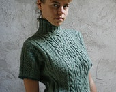 Hand knit cable woman winter wool sweater