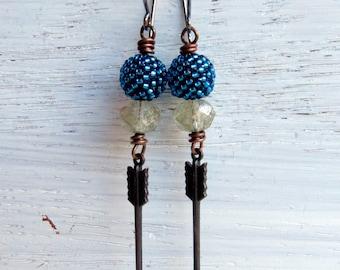 Follow Your Arrow - handmade earrings, glass earrings, blue earrings, turquoise earrings, arrow earrings, songbead, uk jewellery, arrows