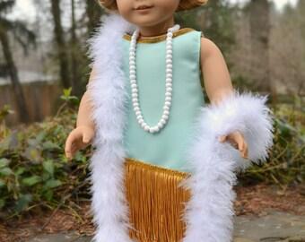 Doll Dress Flapper 1920 Boa Headband Roaring Twenties