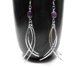 Silver Boho Earrings, Gemstone Earrings, Silver Dangle Earrings, Amethyst Earrings, Hammered Silver Earrings, Hammered Dangle Earrings