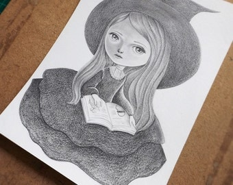 ON SALE 50% Discount, Original Drawing of a Little Witch Reading a Book, Vintage Inspired Pencil Drawing, Children's Illustration