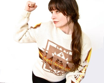 Vintage Southwestern Sweater . 1980s Cozy Sweater . Merry and Bright