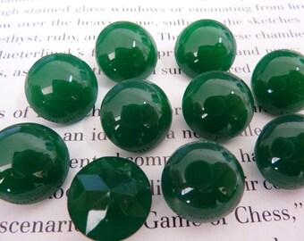 4 glass jewels, Ø14mm, rivoli, jade green, round