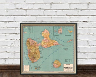 Guadeloupe map - Vintage map of Guadeloupe - fine reproduction