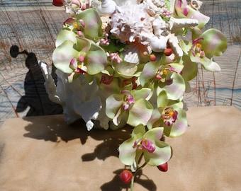 Orchid Cascading Seashell Bouquet / Ocean Bouquet / Beach Bouquet / Tropical Bouquet / Destination Bouquet/ Summer Bouquet /  Made to Order