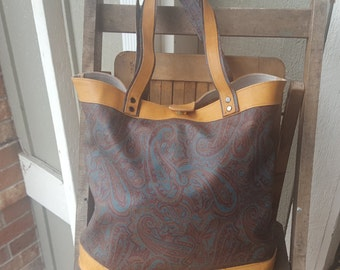 PAISLEY    ///      Large Leather Canvas Tote