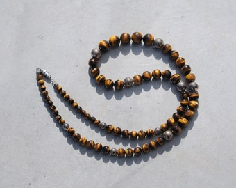 1970s Tiger's Eye and Sterling Necklace