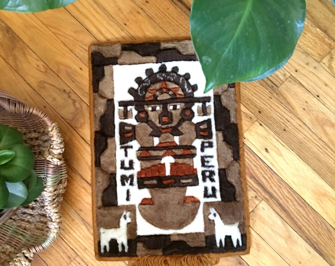 Small Vintage Peruvian Tumi Keepsake Tapestry
