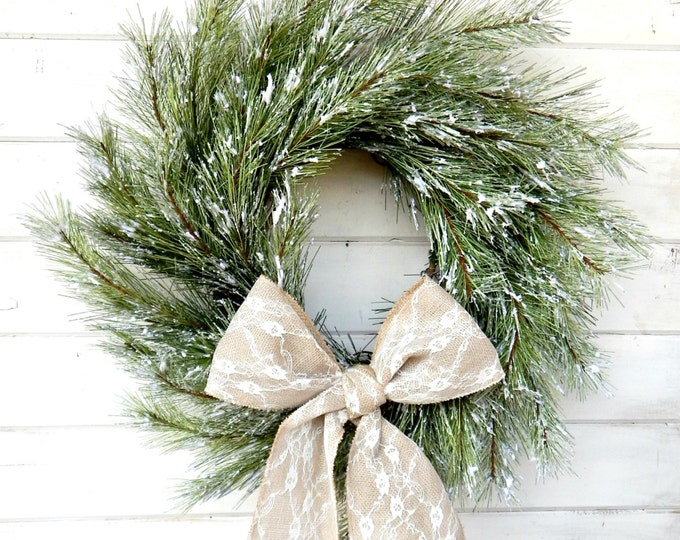 Featured listing image: Christmas Wreath-SNOWY PINE Wreath-Winter Door Wreath-Holiday Door Wreath-Scented Wreath-Primitive Christmas Wreath-Holiday Home Decor-Gifts