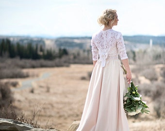 Nora + Wedding Dress //Chiffon Covered Handpainted Silk Ball Gown Skirt//Blush Skirt/Lace Bustier with Lace Tie Back Cover Up