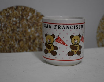 Vintage San Francisco Bear Penant Coffee Cup - Circa 1980s - 1985 Host International San Francisco California Hearts