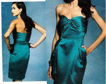 UNCUT Badgley Mischka Platinum - Vogue Patterns American Designer Pattern V1273 - Misses Close-Fitting Dress with Semi-Fitted Skirt - 10-16