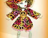 "Frankie Stein's ""Throwback Thursday"" 3 Piece Bohemian Retro Outfit with Hat, Dress and Hotpants, Handmade Clothes for 17"" Monster High Doll"
